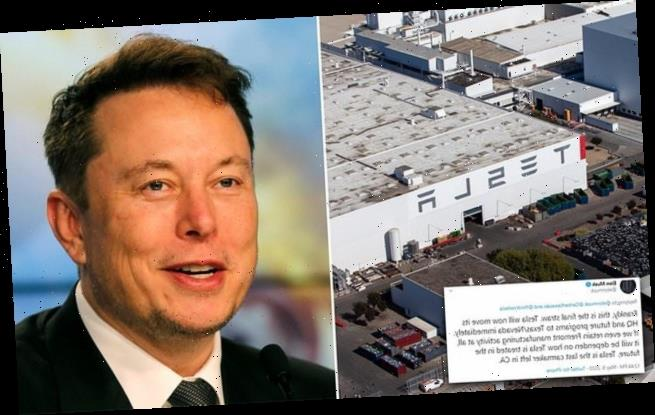 Elon Musk says Tesla HQ 'will move to Texas or Nevada immediately'