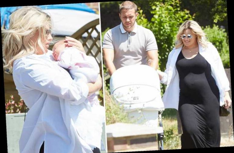 Danielle Armstrong goes for a walk with newborn daughter Orla Mae and fiance Tom four days after giving birth – The Sun