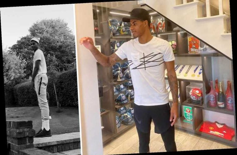 Marcus Rashford shows off amazing trophy cabinet with Man Utd silverware, England caps and MOTM champagne bottles – The Sun