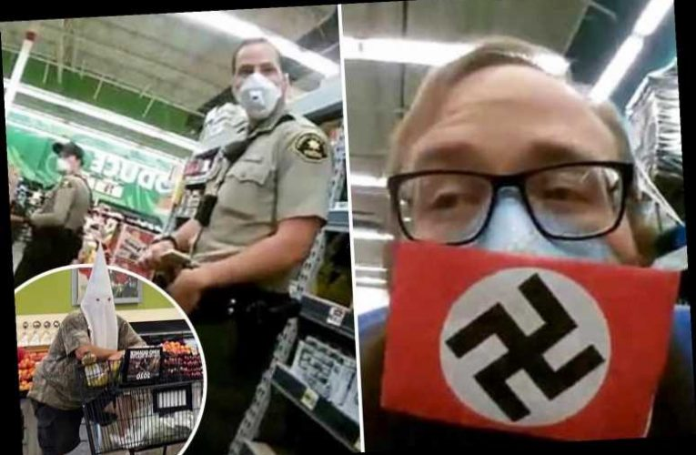 Lockdown protesters wear masks with SWASTIKAS on them in video 'posted on far-right conspiracy theory forum' – The Sun