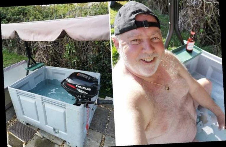 Bored Brit builds 'hillbilly hot tub' in back garden using fish pond and boat engine for bubbles