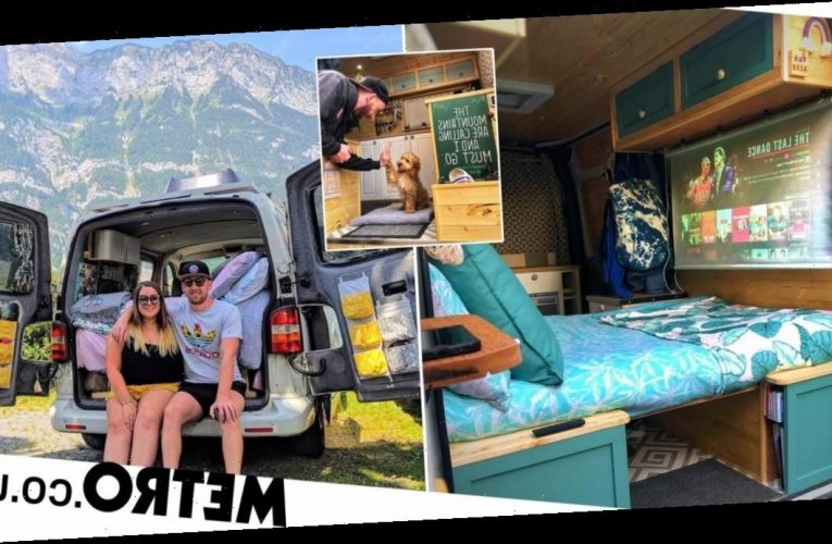 Couple quit their jobs to travel Europe with their dog in a renovated motorhome