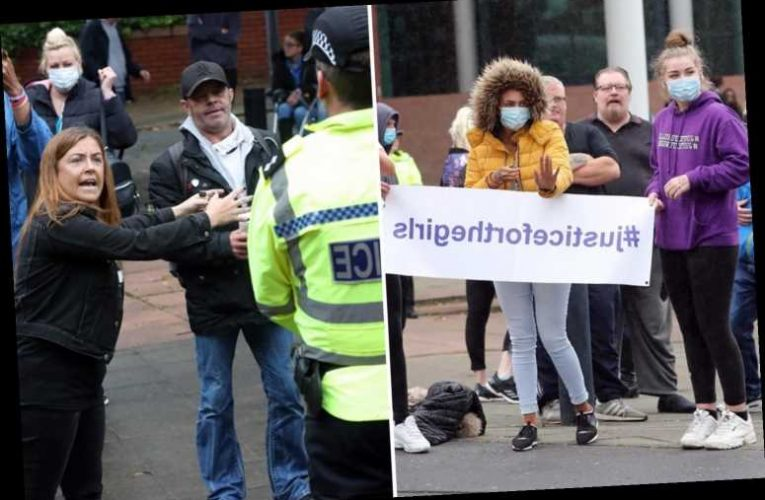 Angry mob protest outside court as girl, 19, appears charged over 'Asian sex gang lie'