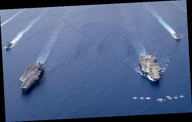 Two US Navy aircraft carriers conduct exercises in South China Sea