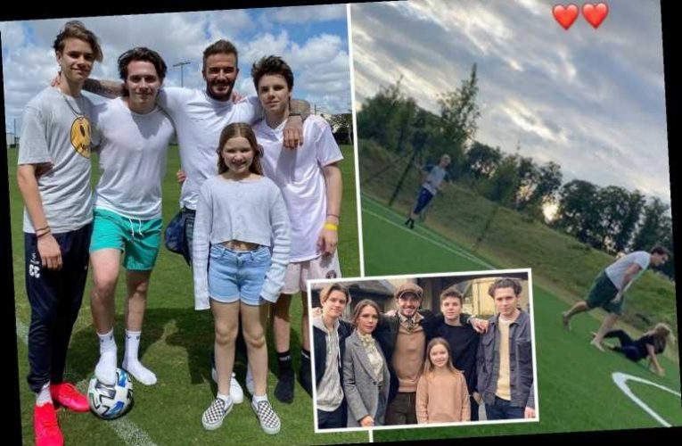 The Beckham kids play football on huge pitch at family's stunning £6m Cotswolds estate