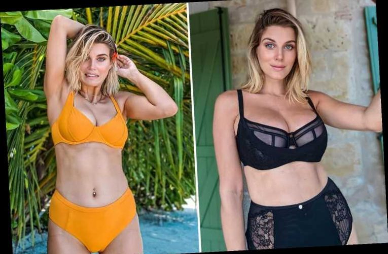 Ashley James shows off tan line blunder on her boobs in yellow bikini snap