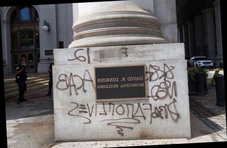 De Blasio finally cleans up anti-cop graffiti from Dinkins building after prodding