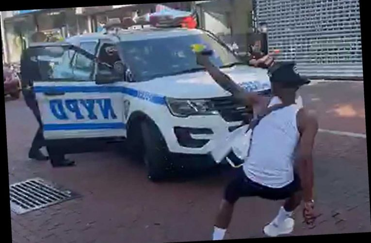 NYPD cops engage in water gun battle on sweltering day in NYC