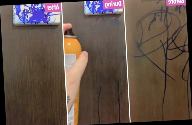 Mum cleans up scribbled on Sharpie pen from wall in 10 minutes using just hairspray
