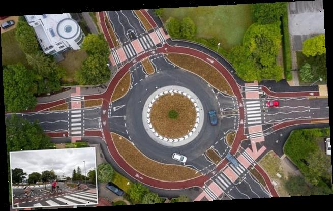 Minor car crash forces Britain's first Dutch-style roundabout to CLOSE