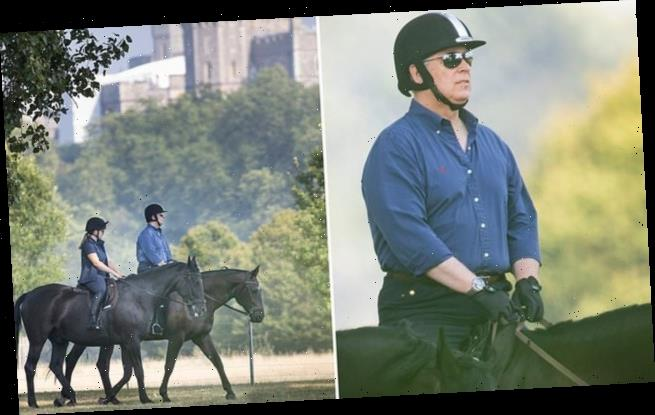 Prince Andrew enjoys a horse ride at Windsor Castle
