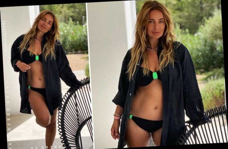 Louise Redknapp strips off to reveal her toned abs as she shows off her 'summer essentials'