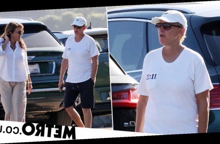 Ellen DeGeneres seen on a walk with friend amid toxic claims