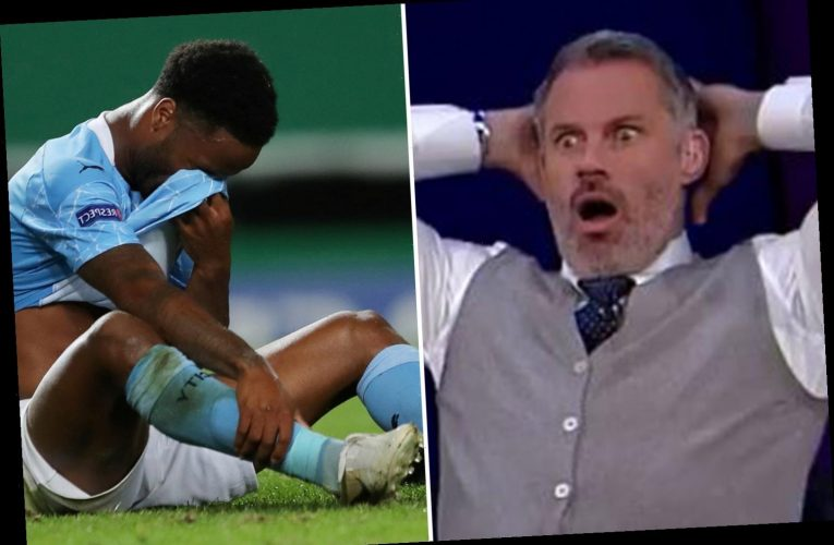 Jamie Carragher face in shock at Sterling miss as fans joke they now understand why Kane didn't squared it at World Cup