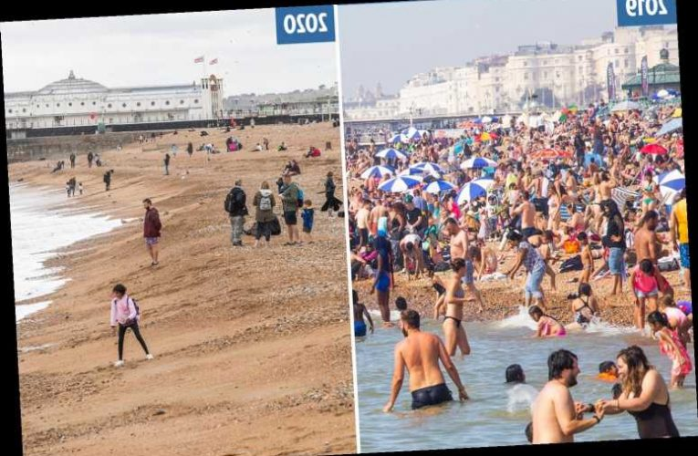 Bank Holiday gloom sees beaches and parks deserted in 18C chill – just a year after record-breaking 33C scorcher