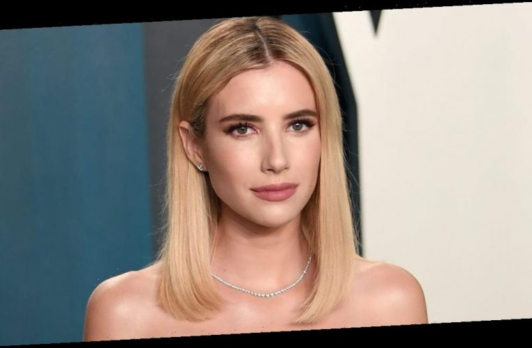 Emma Roberts confirmed her pregnancy in a polka-dot nap dress with off-the-shoulder sleeves