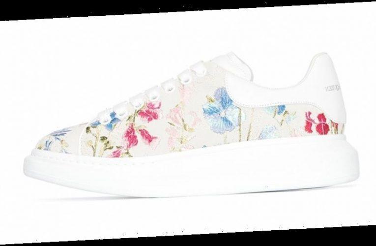 Alexander McQueen's Oversized Sneaker Wears an Embroidered Bouquet of Flowers