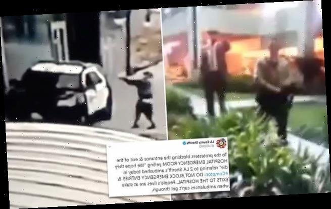 Protesters taunt cops about shot deputies inside LA hospital