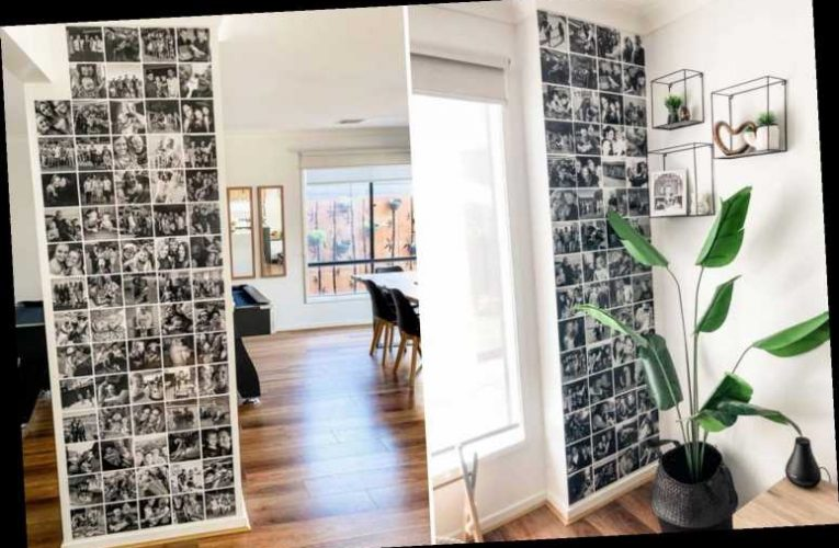 Thrifty mum uses black-and-white family photos to spruce up boring walls & people can't believe it's not chic wallpaper