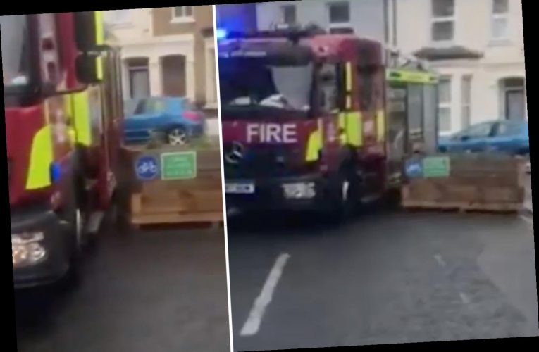 Fire engine gets stuck in 'Covid-friendly' cycle lane as fed-up residents plan protests against 'war on motorists'