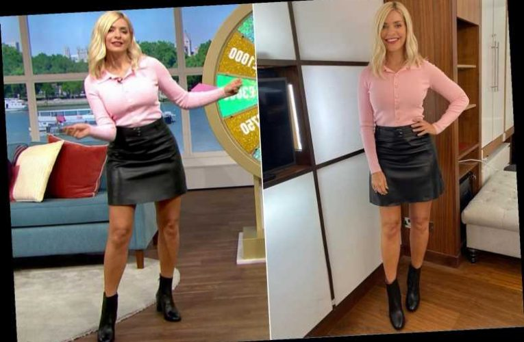 This Morning's Holly Willoughby sets pulses racing in sexy leather skirt – as fans spot faces in her knees again