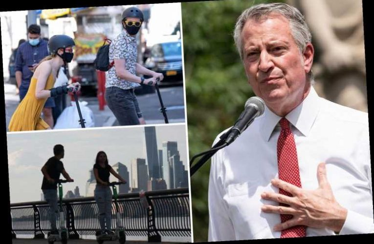Bill de Blasio sideswiped by man riding e-scooter with his daughter while mayor walked in New York City