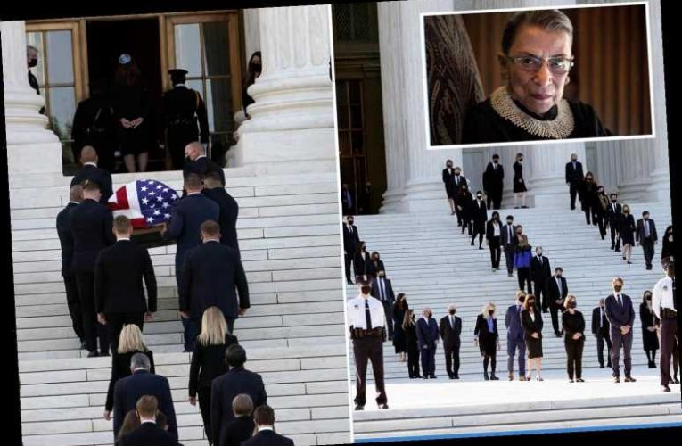 Ruth Bader Ginsburg's army of 100 clerks line steps of Supreme Court as she returns for final time