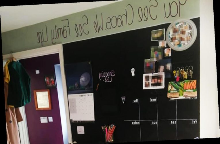 Savvy mum sets up organisation wall to make the school run so much easier