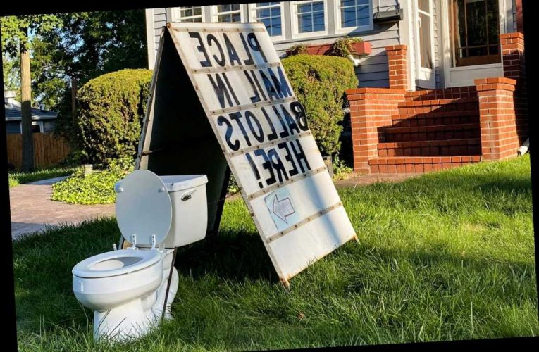 Michigan official calls cops over homeowner's election-themed toilet display