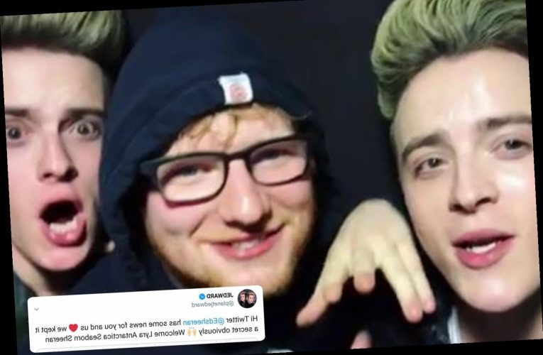 Ed Sheeran told pals Jedward his baby news yesterday as they reveal his private message to them on Twitter
