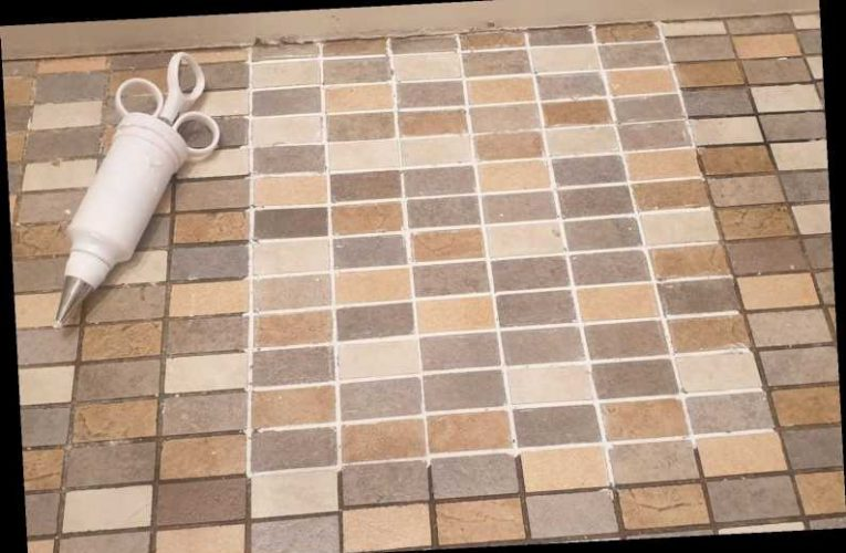Mum who couldn't afford new tiles gives hers a makeover with cake decorating syringe & people say her floor looks new