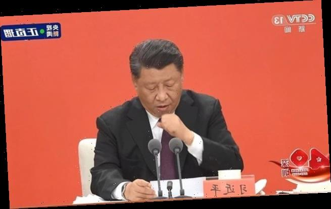 China's President Xi violently coughs throughout speech