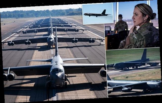 B-52 bombers put on show of force to show fast they can take off