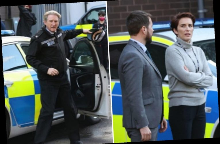 Line of Duty's Vicky McClure and Adrian Dunbar look tense as they battle the cold on BBC set in Belfast