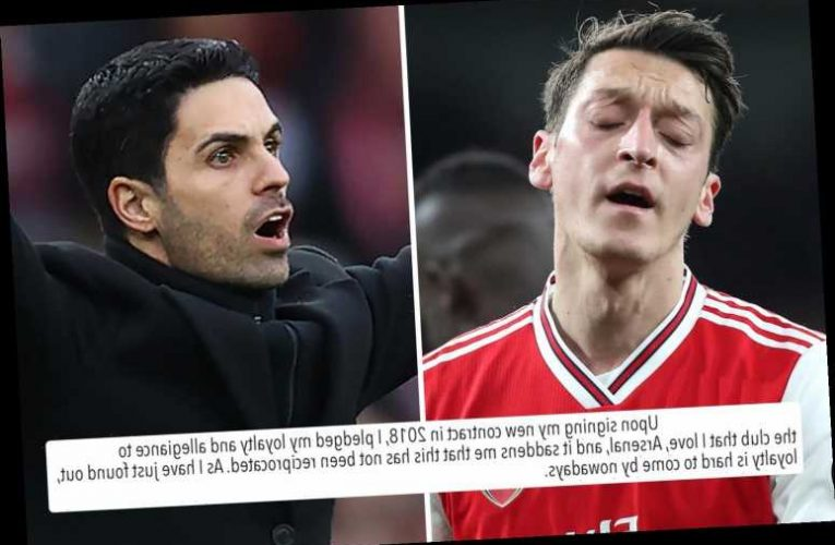 Mesut Ozil posts emotional statement slamming Arsenal for lack of 'loyalty' after being axed from Prem and Euro squads