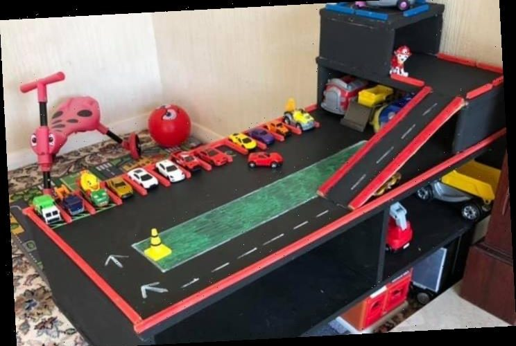 Single mum creates amazing toy car racing track for her son, two, using an old coffee table & it cost just £10