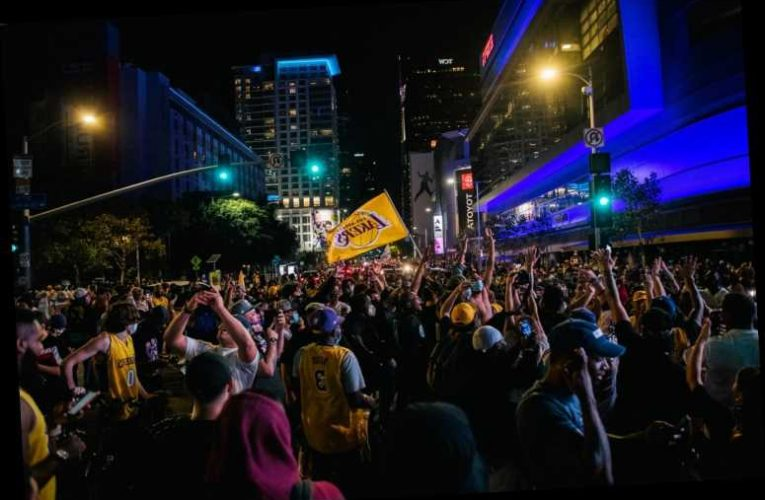 Thousands of Lakers Fans Swarm Staples Center Following the Team's Championship Win