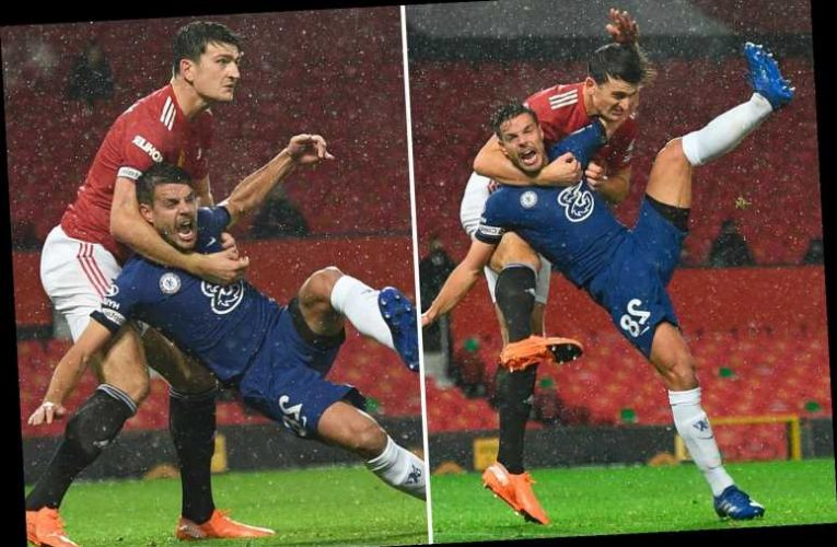 Harry Maguire wrestles Chelsea star Cesar Azpilicueta around neck but VAR ignores Man Utd star's 'WWE-style headlock'