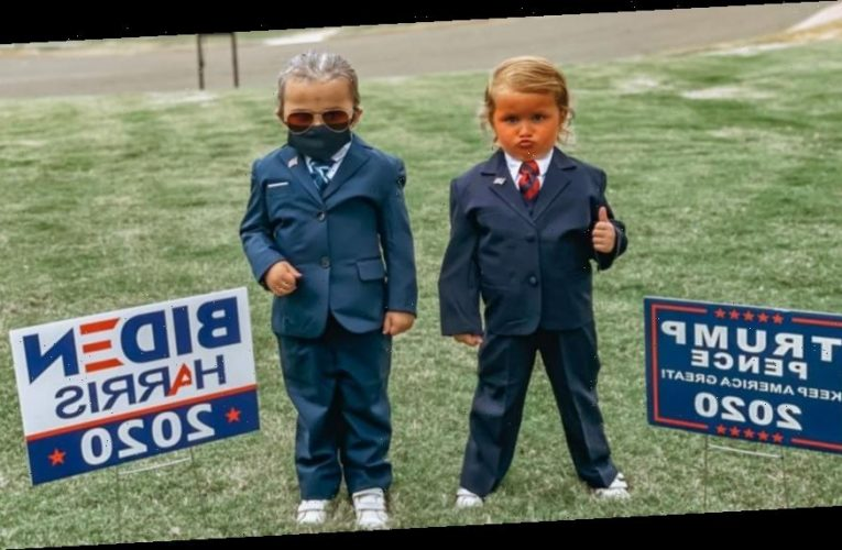 Twins girls, 4, wear Trump, Biden costumes for Halloween