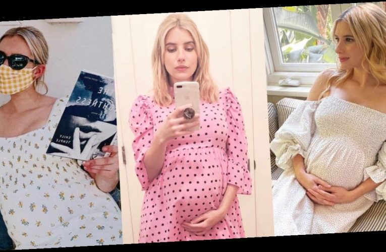 The best maternity outfits Emma Roberts has worn, from polka-dot minidresses to floral swimsuits