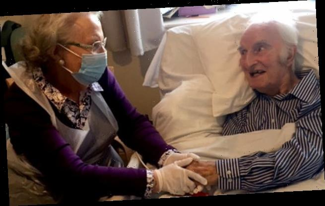 Couple married for 63 years hold hands for first time in eight months
