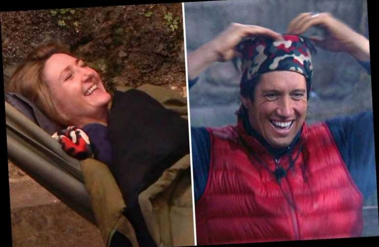 Vernon Kay gives up his bed for Victoria Derbyshire and sleeps on the freezing stone floor for his first night in camp