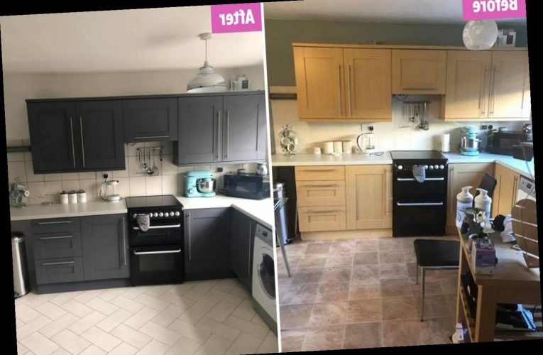 Mum gives her kitchen a complete makeover using £10 Wilko paint and bargains from The Range