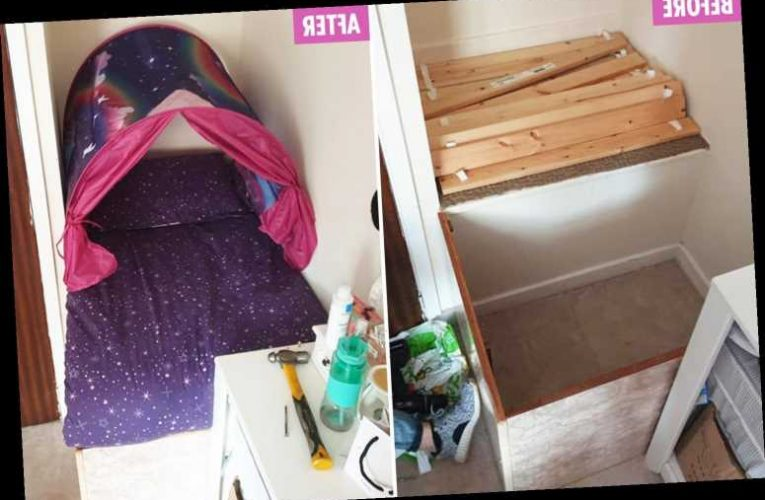 Mum makes incredible mini-bed for her toddler to maximise every inch of space and it only cost a fiver