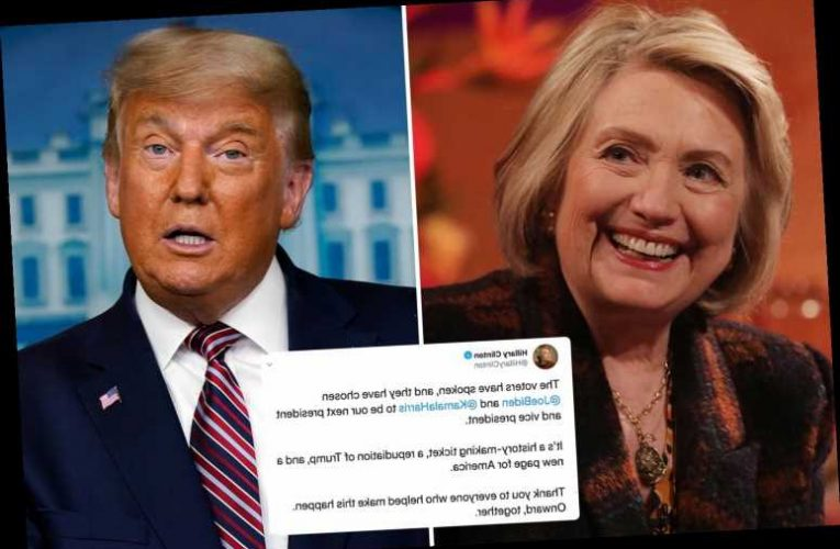 Hillary Clinton celebrates Trump's loss and says voters REJECTED him in 'new page for America'