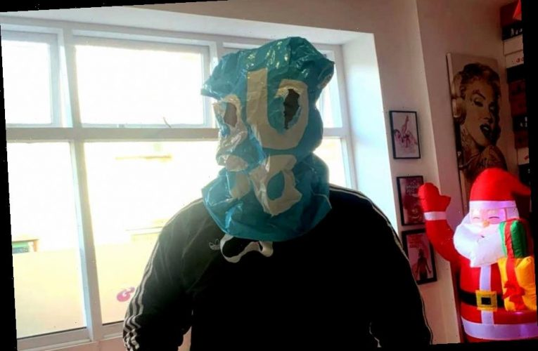 Cafe customer wears plastic BAG as a makeshift face mask to order food