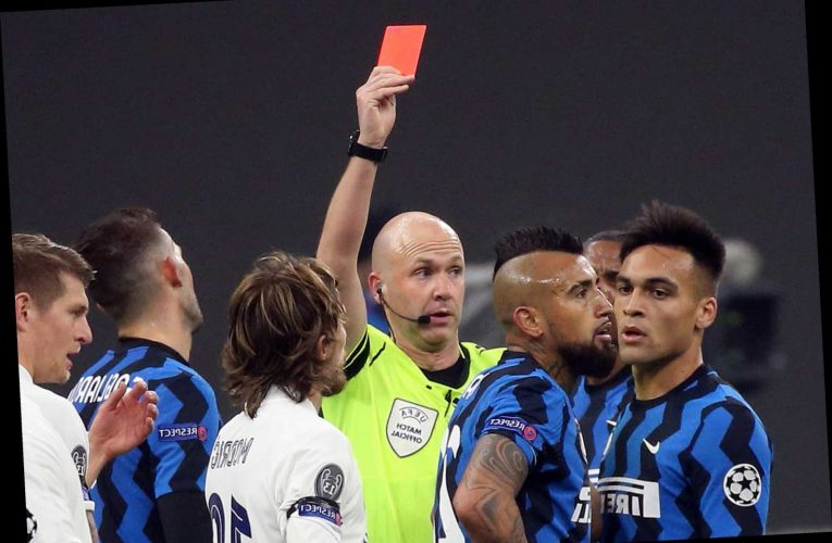 Watch Arturo Vidal lose the plot as he picks up two yellow cards in TEN SECONDS during Inter Milan's loss to Real Madrid