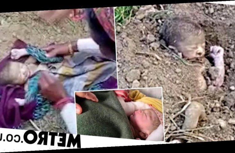 Newborn baby miraculously saved after being buried alive on farm
