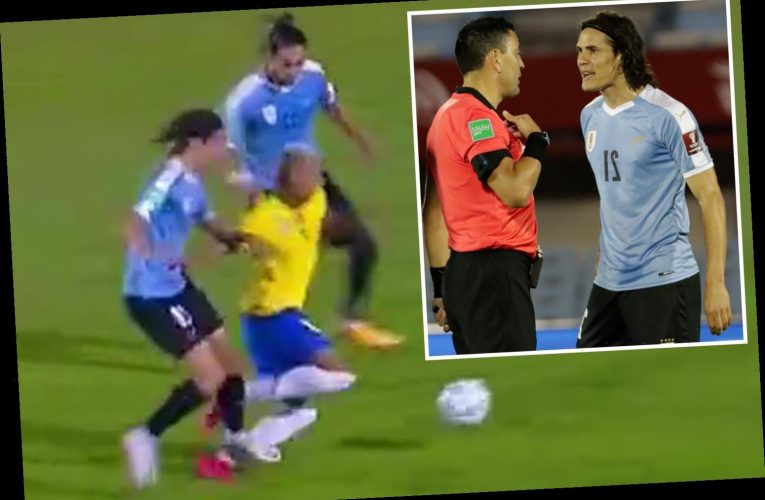 Watch as Man Utd ace Edinson Cavani is shown straight red card for nasty stamp on Richarlison in Uruguay loss to Brazil