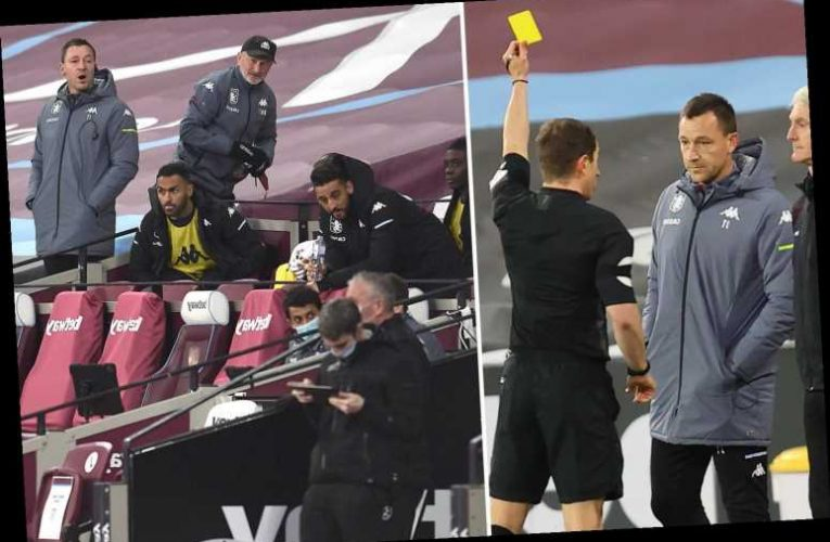 John Terry BOOKED on Aston Villa sideline after row with West Ham staff over Jack Grealish tumble